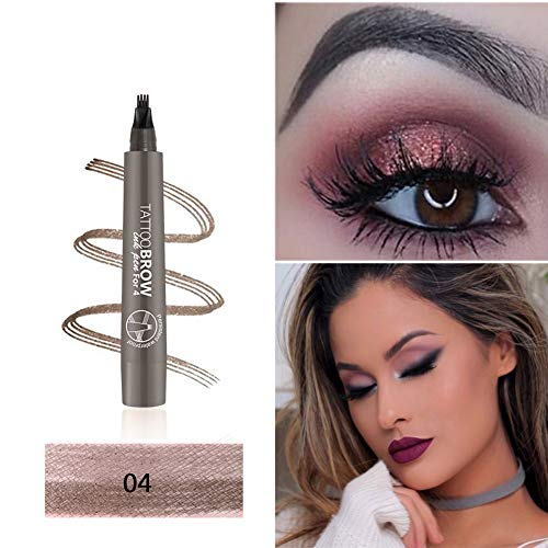 Aesyorg 3D Tattoo Eyebrow Pen with Four Tips, Aesy Microblading Eyebrow Marker Long-lasting Waterproof Smudge Proof Brow Gel for Eyes Makeup 1 Pack