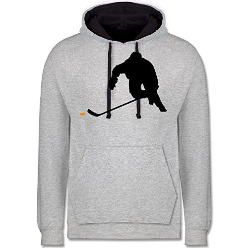 Shirtracer Eishockey - Eishockey Sprint - 3XL - Grau meliert/Navy Blau - JH003 - Hoodie zweifarbig und Kapuzenpullover für Herren und Damen