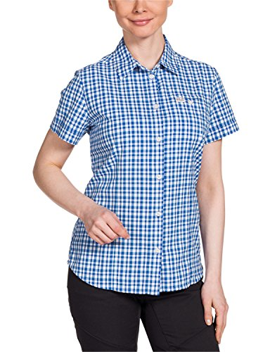 Jack Wolfskin Damen Bluse Flaming Vent Shirt, Classic Blue Checks, M, 1401641-7512003