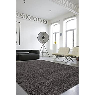 Sweet Home Stores Cozy Shag Collection Solid Shag Rug Contemporary Living & Bedroom Soft Shaggy Area Rug, 3'3 L x 5'0 W, Charcoal Grey