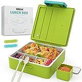 Bento Box, Lunchbox Kinder 1300ML mit 4 Fächern + 1 Box für Saucen, Auslaufsicher Brotdose Kindergarten, Spülmaschinengeeignet Jausenbox Erwachsene, Mikrowellenfest Picknick Lunch Box mit Messer/Gabel