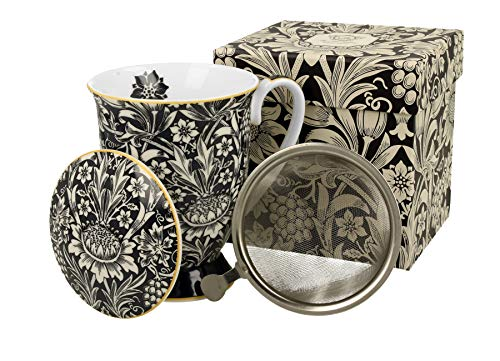 Duo Colección Art Gallery by William Morris - Taza de té (330 ml, colador de porcelana china, con tapa de color azul)
