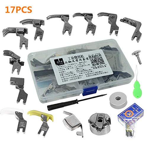 17pcs Piezas Prensatelas Accesorios, Multifuncionales Piezas de la máquina de coser industrial presiona los accesorios y el caso del pie de presión Presser