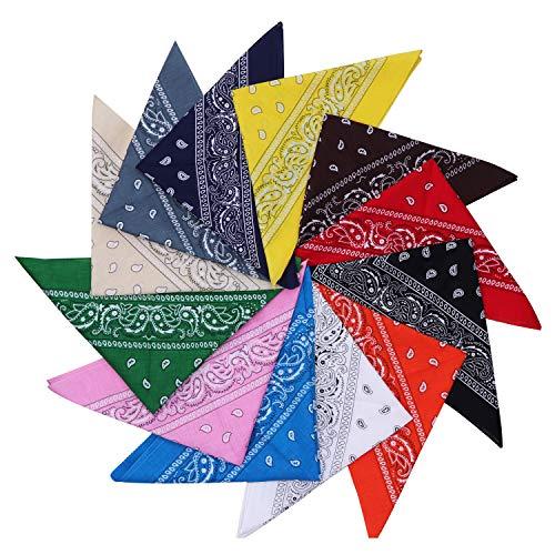 Bandana (12er Set) - Halstücher Set für Frauen, Männer und Kinder (54 cm) - Mischfarben Biker Kopftücher kann als Halstuch oder Schweißband