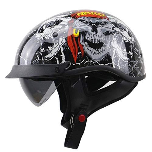 ABDOMINAL WHEEL Cascos Retro Motocicleta Half,Casco Protección para Motocicleta Unisexo,Certificación ECE con Visera Solar Y Gafas Integradas,Ebilla De Liberación Rápida Casco B,XL=59~60CM