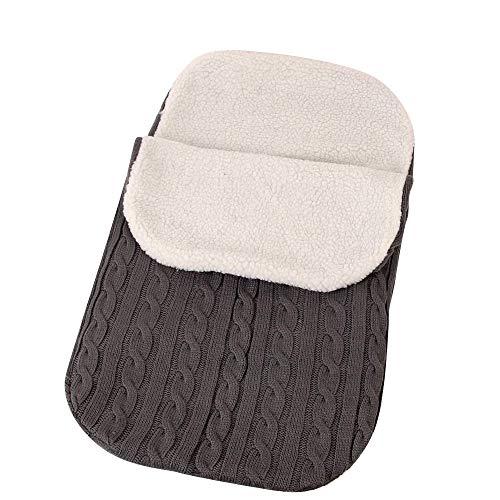 IEUUMLER Baby Neugeborene Gestrickt Wickeln Swaddle Decke Schlafsack für Kinderwagen, Buggy, Babytrage IE051 (Dark Grey)
