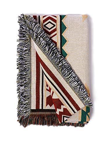 Sonemone Sofa Throw Blanket Year Round Aztec Bohemian Home Cozy Couch Sofa Bed Beach Travel 60'x80' White