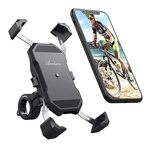 DyniLao Portacellulare da bicicletta, universale da 5,5'-6,5' pollici Portacellulare da moto per smartphone Manubrio da 22-32 mm, con manubrio per bici da moto rotante a 360 ° p