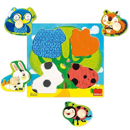 Goula- Animales del Bosque Conjunto de Puzzles, Multicolor (53462)