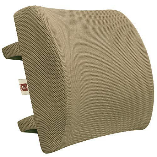 LOVEHOME Memory Foam Lumbar Support Back Cushion with 3D Mesh Cover Balanced Firmness for Lower Back Pain Relief - Ideal Back Pillow for Office Chair and Car Seat - Beige