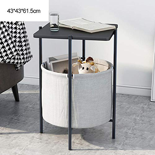 Longxs Accent Tables for Small Spaces,Small Square Table, Nordic Sofa Side Table, Fabric Organizer, Simple Wrought Iron Balcony Coffee Table, Small Apartment Bedside Table-Black Face + Black Frame