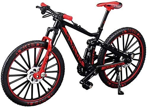 Zeyujie Alloy Mini Downhill Mountain Bike Toy, Die-cast BMX Finger Bike Model for Collections (Black/Red)