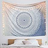Dremisland indischer Wandteppich Wandbehang Mandala Blume Tuch Wandtuch Tapestry Indien Hippie Boho Stil als Dekotuch Tagesdecke indisch orientalisch Psychedelic (M/59'x52', Farbverlauf Mandala)