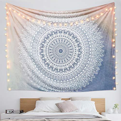Dremisland indischer Wandteppich Wandbehang Mandala Blume Tuch Wandtuch Tapestry Indien Hippie Boho Stil als Dekotuch Tagesdecke indisch orientalisch Psychedelic (L/80