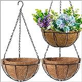 3 Packs 10 Inch Hanging Flower Baskets for Outside and 10 Pcs Plant Labels, Outdoor Hanging Plant Holder Decor Flower Pots Hanger Garden Decoration Indoor Watering Hanging Baskets (3 Pcs)