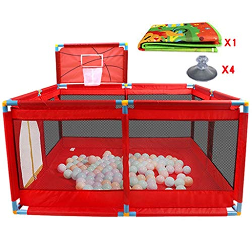 LJYY Toddler Playpen With Mattress And Basketball Hoop,8 Panel Indoor Outdoor Foldable Baby Play Yard Fence (Color : Red)