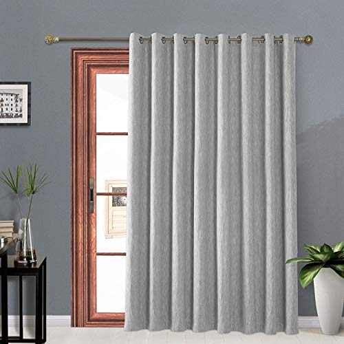 Melodieux Elegant Cotton Wide Blackout Curtains for Sliding Glass Door Living Room Thermal Insulated Grommet Drapes, 100 by 84 Inch, Grey (1 Panel)