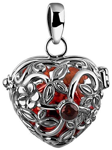 Nenalina Engelsflüsterer Herz Anhänger für Damen Halskette, ca. 25 mm, rhodiniert, geschliffener Granat, Inclusive Einer Klangkugel aus Messing