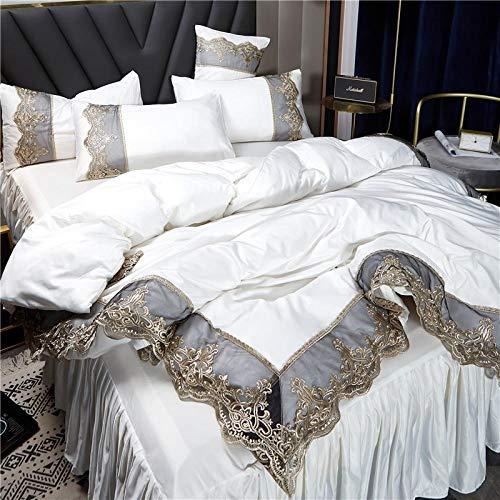 Bedding-LZ -Falda de lecho de Encaje Set de Cuatro Conjuntos de Seda Europea de Gama Alta Princesa de Viento dormitorios Antideslizantes para Hornear-B_Cama de 2.0 Metros de Cuatro Piezas.
