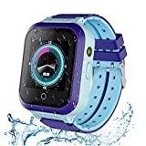 Upgraded 4G GPS Smartwatch for Girls Boys, IP67 Waterproof Sport Smart Watch Phone for Kids, with Camera WiFi Video Call Phone Call SOS Pedometer, 2-Style Watch Straps for Children 3-14 Years-Blue
