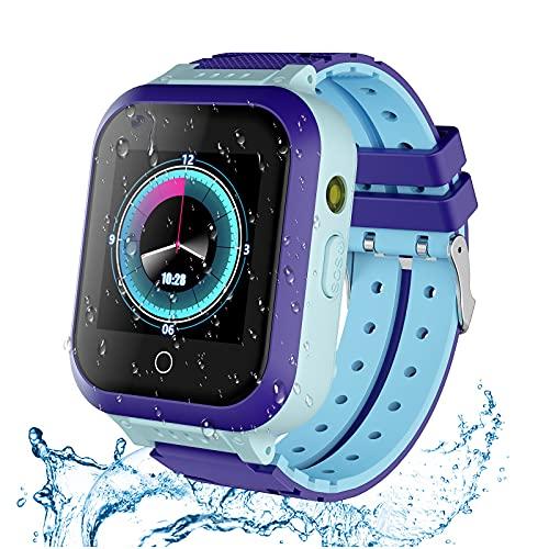 Montre Intelligente 4G GPS pour Filles et garçons, étanche IP67, Montre Intelligente de Sport pour Enfants, avec Appareil Photo, Wi-FI, Appel, vidéo, SOS,2 Bracelets de Montre pour Enfants (Bleu)