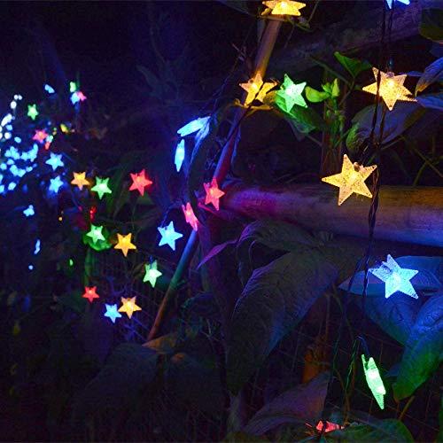 Chasgo Solar Star String Lights, Outdoor Waterproof Multicolor Solar String Lights, 30FT 50 LED Solar Star Lights for Christmas Wedding Party Garden Yard Patio Umbrella Outdoor Tree Decor