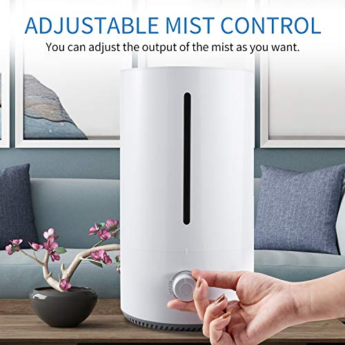 Ultrasonic humidifier, NGOZI 4L top filling Humidifier Ultra quiet room humidifier with dense fog steam nozzle, automatic switch-off, adjustable fog control, 18h working time