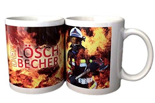 Feuerwehrstore Feuerwehr Tasse Löschbecher mit heißem Motiv | 340 ml | Kaffe-Tasse Tee-Tasse | Geschenk Weihnachten Tombola-Preise Geburtstag Feuerwehr-Mann Frau Kind Jugend-Feuerwehr Keramik