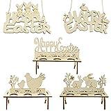 Decorazioni pasquali in legno, 3 pezzi di espositori per uova di Pasqua e 2 pezzi con segno di Pasqua per decorare la tavola di casa e ufficio