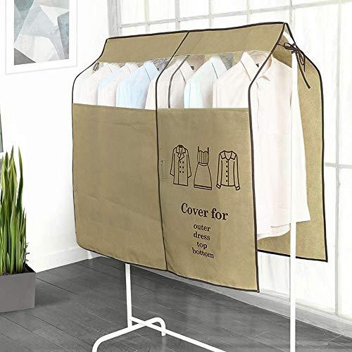 OTraki ハンガーラック カバー 幅120cm x 高さ110cm パイプハンガー カバー 不織布 衣類カバー 防塵 通気性 透明 窓 ハンガーカバー ブラウン