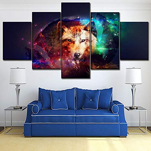 mmwin Decoración para el hogar Obra de Arte Imágenes en Lienzo Impresiones en HD Cartel de 5 Piezas Artistic Animal Wolf Paintings For Living Room Wall Art Work