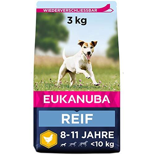 Eukanuba Hundefutter mit frischem Huhn für kleine Rassen, Premium Trockenfutter für reife Hunde, 3 kg