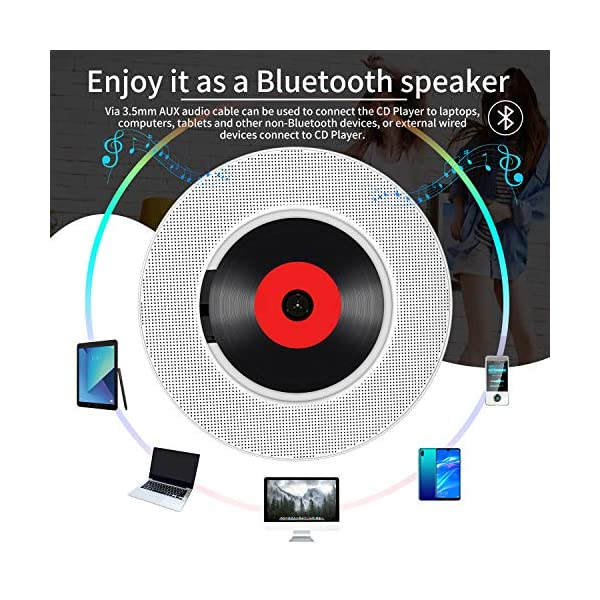 Portable CD Player with Bluetooth, Wall Mountable CD Music Player Home Audio Boombox with Remote Control FM Radio Built-in HiFi Speakers, MP3 Headphone Jack AUX Input Output with Pull Switch 6