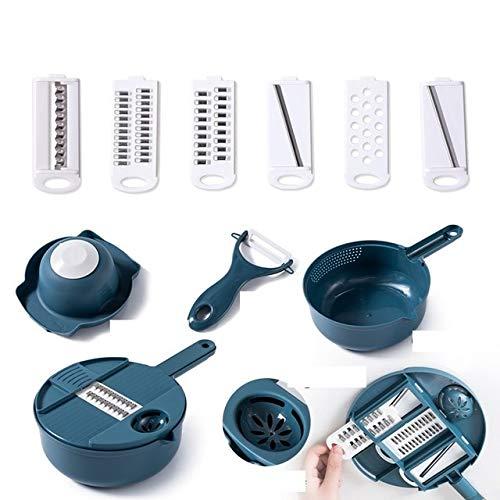 Vegetable Chopper Carrots Potato Cutter Shreds Manual Cut Tool Fruit Peeler Garlic Press Gadgets Kitchen Utility Tools Cooking Blue