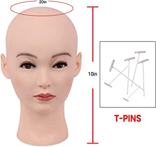HAIR WAY Bald Mannequin Head Female Professional Cosmetology Head Make up Doll Head for Wig Making, Displaying, Eyeglasses, Hair with T-pins