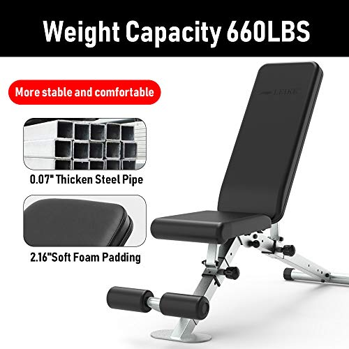 leikefitness Adjustable Weight Bench Foldable Workout Exercise Bench with Automatic Lock for Upright Incline Decline and Flat Full Body Exercise GM5810(BLACK)