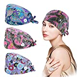 3 Pcs Women Working Cap with Buttons Sweatband, Adjustable Printed Cotton Working Cap, One Size Elastic Tie Back Head Covers