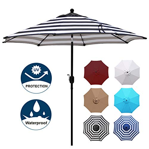 Blissun 9' Outdoor Aluminum Patio Umbrella, Market Striped Umbrella with Push Button Tilt and Crank (Black & White Stripe)