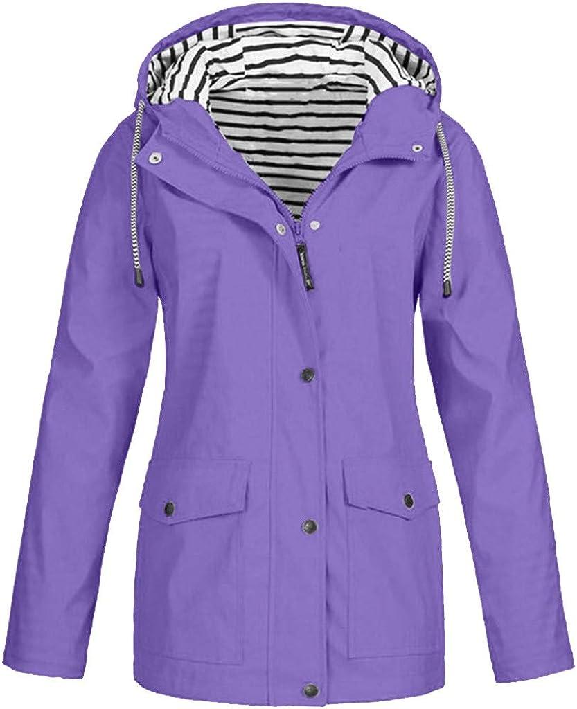 Pktop Outdoor Regenjacke Einfarbig Groß Wasserdicht Mit Kapuze Winddicht Für Damen Bekleidung