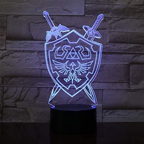 3D Illusion Nachtlampe 3D-Illusion Lampen LED Zelda Schild Schwert Nachtlicht Weihnachten Valentines Geburtstag Geschenk for Kinder Spielzeug 7 Farbwechsel Touch-USB-Tischdekorationen Tischlampe