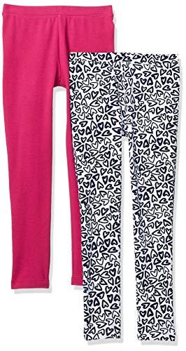 Amazon Brand - Spotted ZebraGirl'sBig Kid 2-Pack Cozy Leggings, Heart/Fuchsia, Medium