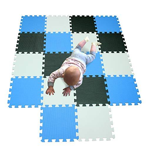 MQIAOHAM actividades alfombrillas bebes colchoneta foam goma infantil juegos niños para piezas suelo Blanco-Negro-Azul 101104107