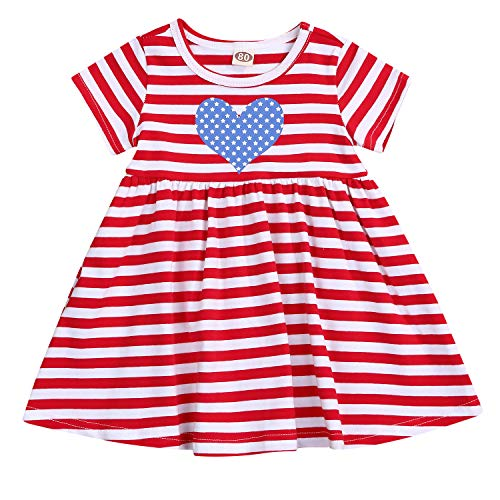KONIGHT Baby Girl 4th of July Outfits American Flag Star and Striped Printed Casual Dress...