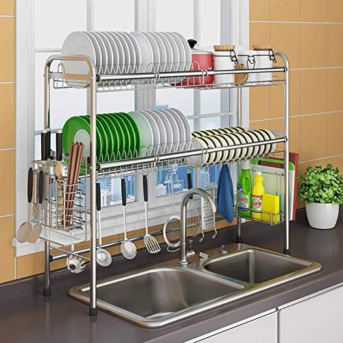 CDKET Dish Drainer Rack 2 Tier Abtropfbrett Holder Retractable 304 Edelstahl Dish Rack Rack Sink Universal Pool Rack Kitchen Rack-100X28X82cm A