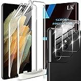 LK 4 Pack Protector Pantalla Compatible con Samsung Galaxy S21 Ultra (6.8 Pulgadas),Contiene 2 Pack Protector de Pantalla y 2 Pack Cámara Cristal Vidrio Templado, Doble Protección