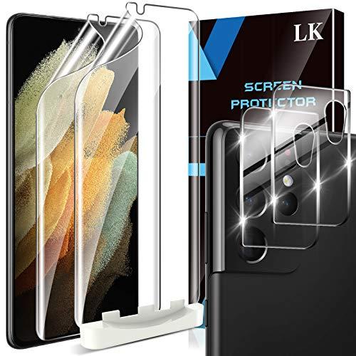 LK 4 Stück Schutzfolie Kompatibel mit Samsung Galaxy S21 Ultra & S21 ultra 5G, 2 Kamera Panzerglas & 2 Folie, Blasenfreie TPUBildschirmschutzfolie Vollständige Abdeckung Fingerabdruck-ID unterstützen