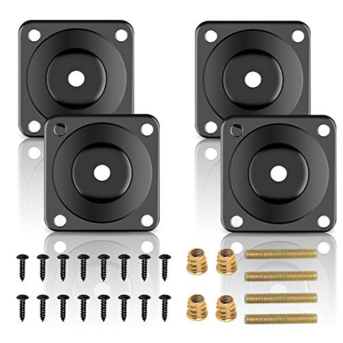 BIGKASI 28Pcs Leg Fixing Mounting Plates Furniture Leg Mounting Plates Angled Sofa Leg Attachments with 4 Leg Mounting Plates 4 Threaded Converter 4 Hanger Bolt 16 Screw for Table Carbinet Footstool
