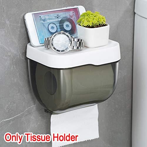 Alicer Tissue Box, an der Wand montierter Kunststoff-Rollenhalter Tissue Box mit Telefonablage, Bad Tissues Box mit Tablett, Haushaltswaren