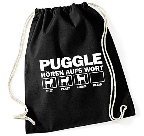 Siviwonder Turnbeutel - PUGGLE Designerhund Beagle Mops Mix - HÖREN AUFS WORT Baumwoll Tasche Beutel schwarz