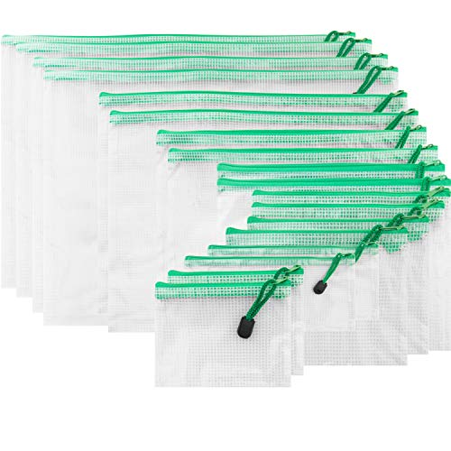 SUBANG 18 Pieces Green Zipper Pouch Zipper File Bags Mesh File Folders with Grid Travel Pouch, 9 Sizes